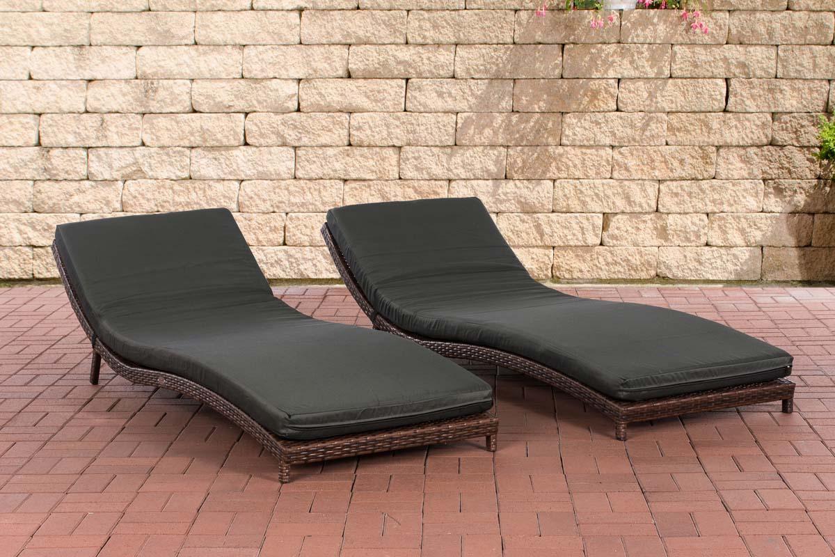 set sonnenliegen pesaro gartenliege mit auflage rattan. Black Bedroom Furniture Sets. Home Design Ideas