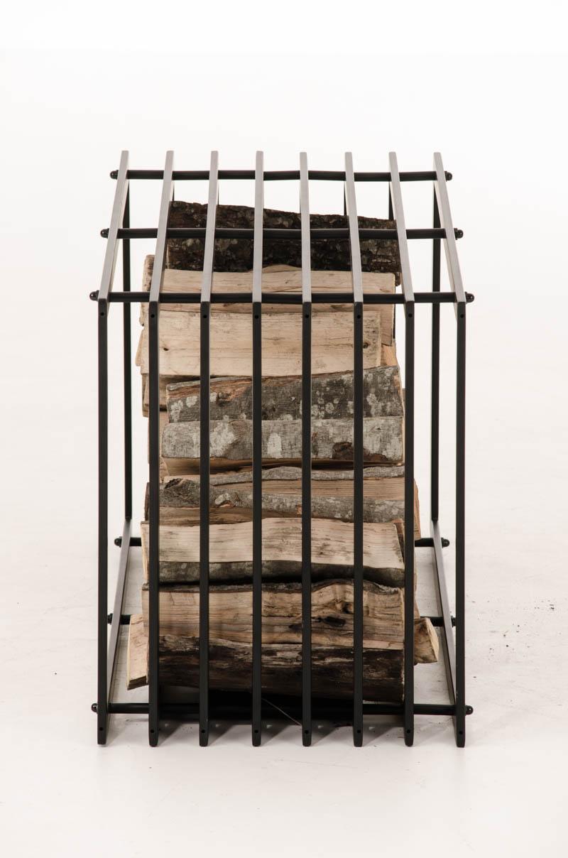 Portalegna irving metallo nero opaco scaffale legnaia for Portalegna da interno ikea