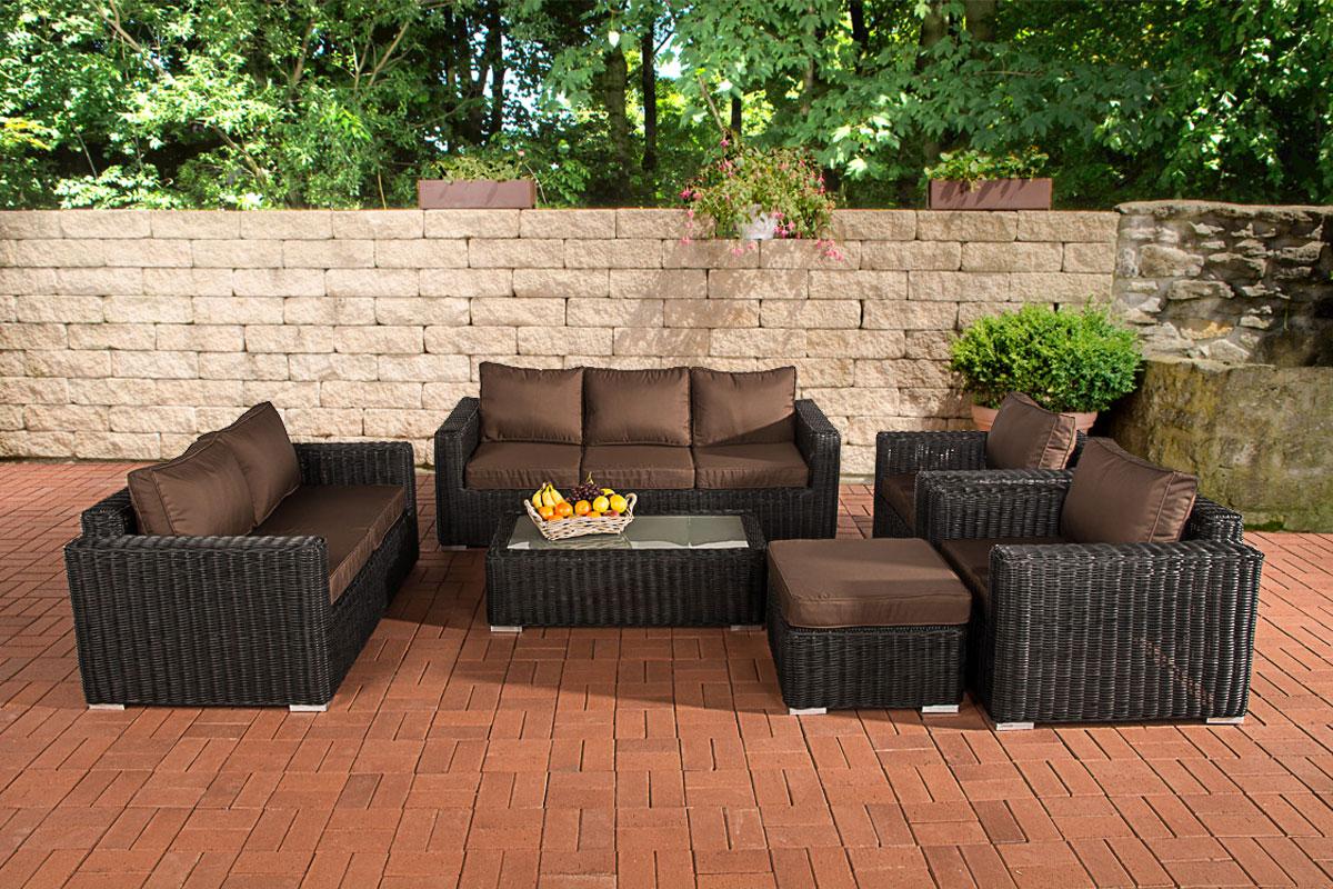 Gartengarnitur MADEIRA XL schwarz Sitzgruppe Gartenmöbel Polyrattan ...