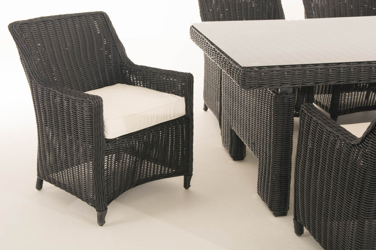 sitzgruppe sandnes xl schwarz gartengarnitur polyrattan. Black Bedroom Furniture Sets. Home Design Ideas