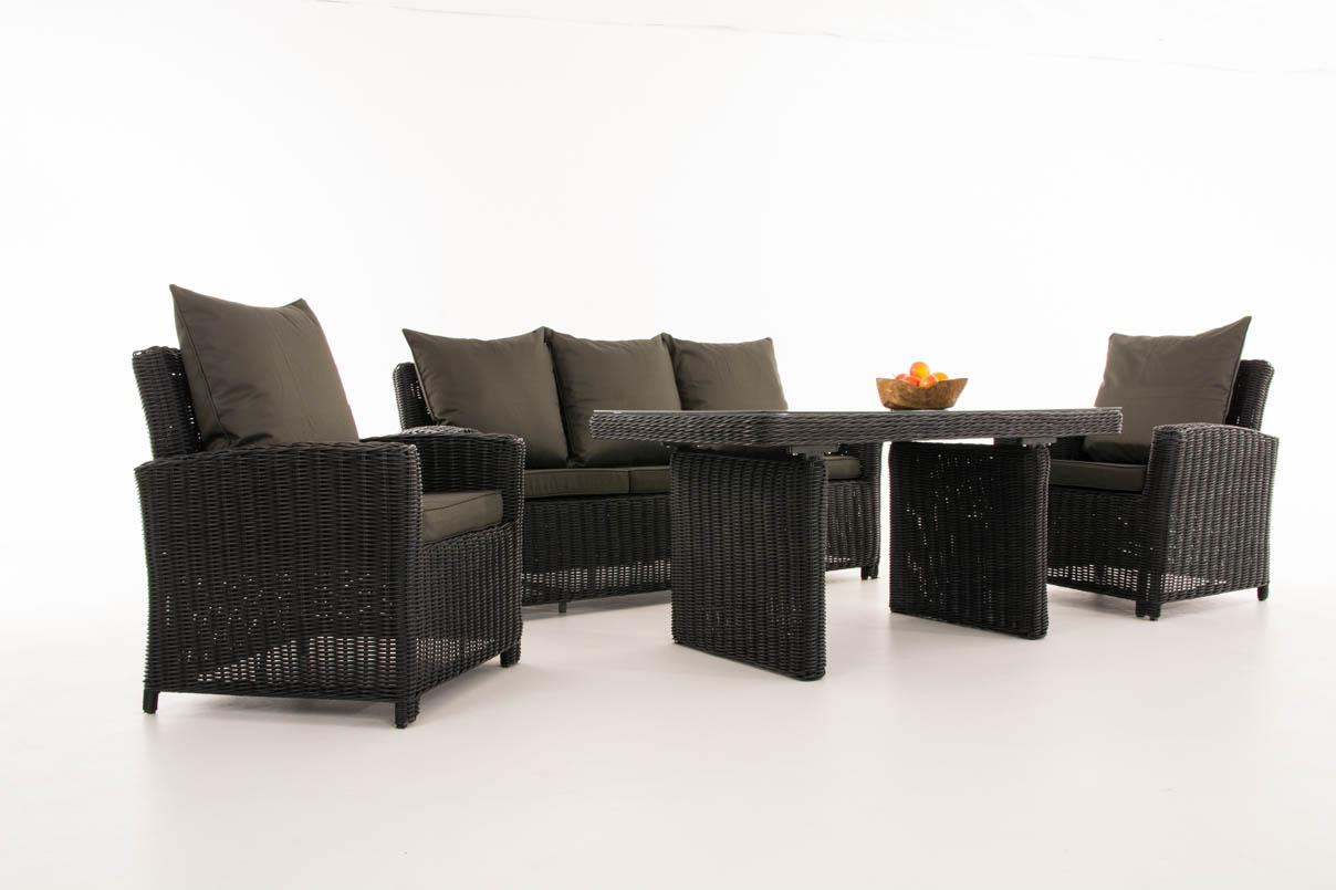 Détails sur Salon de Jardin FISOLO 5mm Noir Ensemble de Jardin Table Canapé  Chaise de Jardin