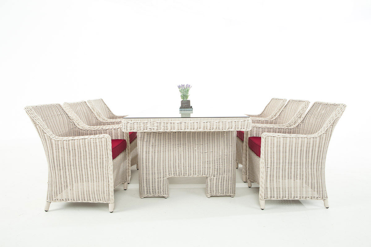 Détails sur Ensemble de Jardin en Résine Tréssée SANDNES Salon de Jardin 6  Chaises 1 Table