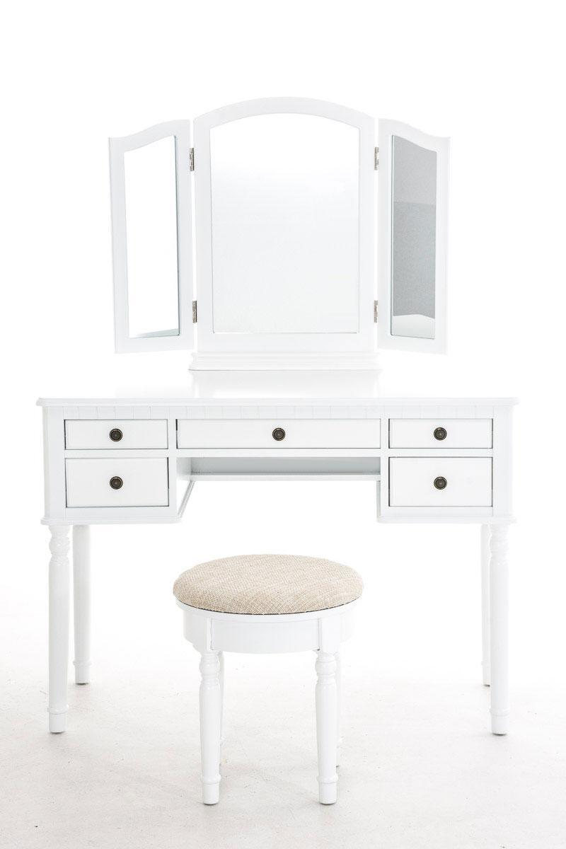 Hbm44257 schminktisch madeleine wei mit 3 spiegeln hocker kosmetiktisch b ware ebay for Schminktisch mit 3 spiegeln