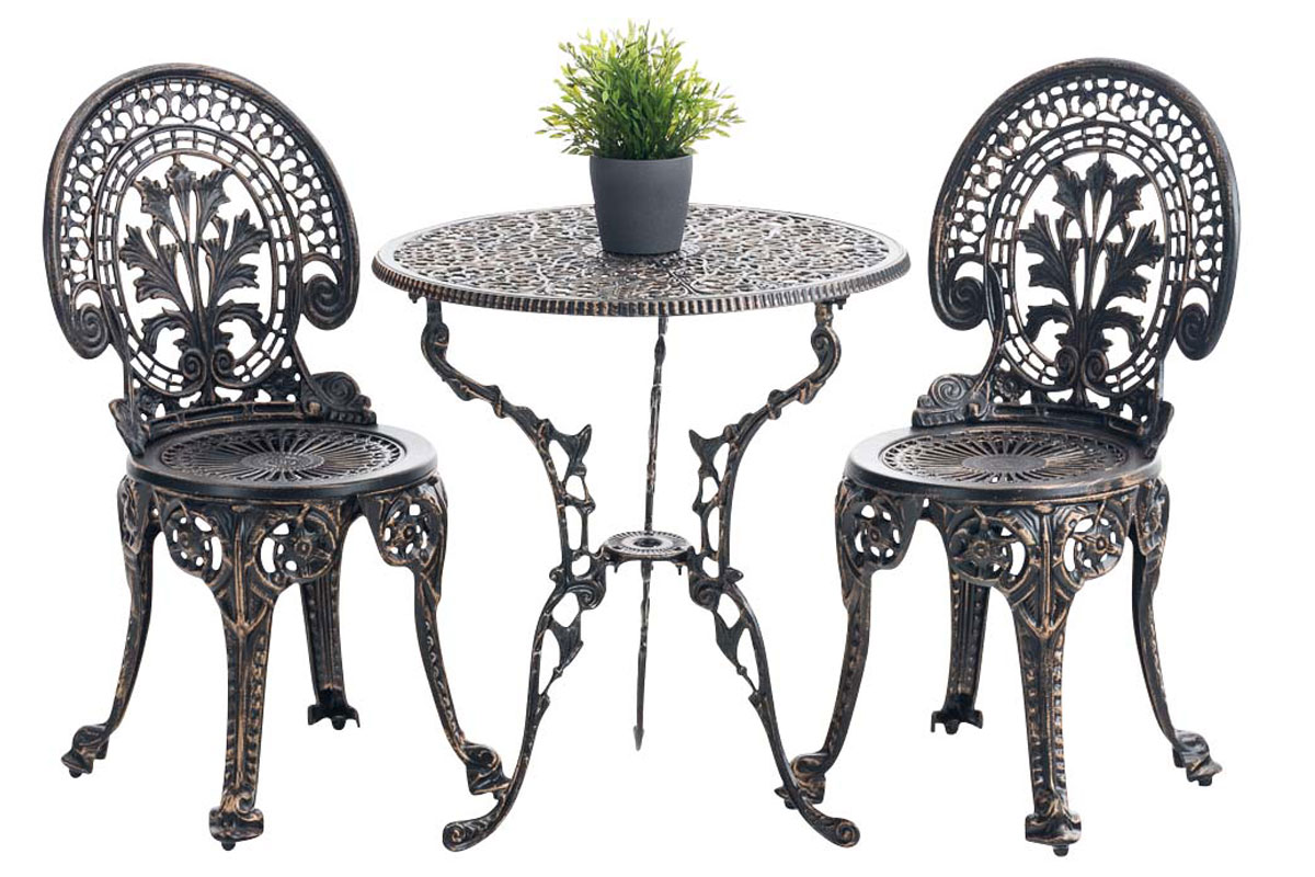salon de jardin divari en fonte d 39 aluminium meuble de jardin 1 table 2 chaises ebay. Black Bedroom Furniture Sets. Home Design Ideas