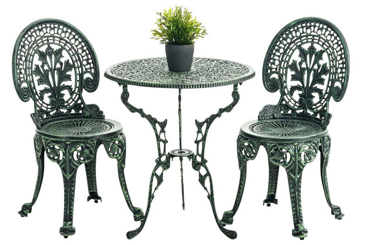 Salon de jardin divari en fonte d 39 aluminium meuble de jardin 1 table 2 chaises ebay - Salon de jardin fonte aluminium ...