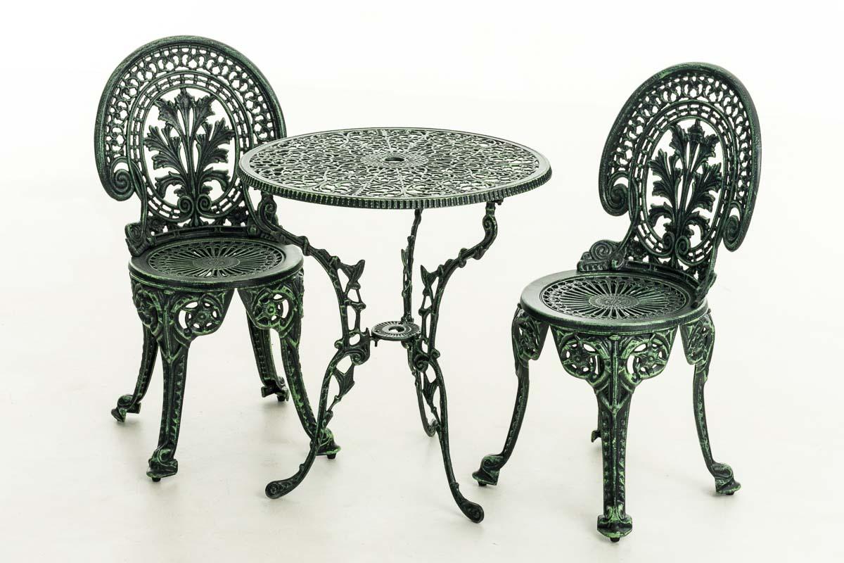 Salon de jardin DIVARI en fonte d\'aluminium meuble de jardin 1 table ...