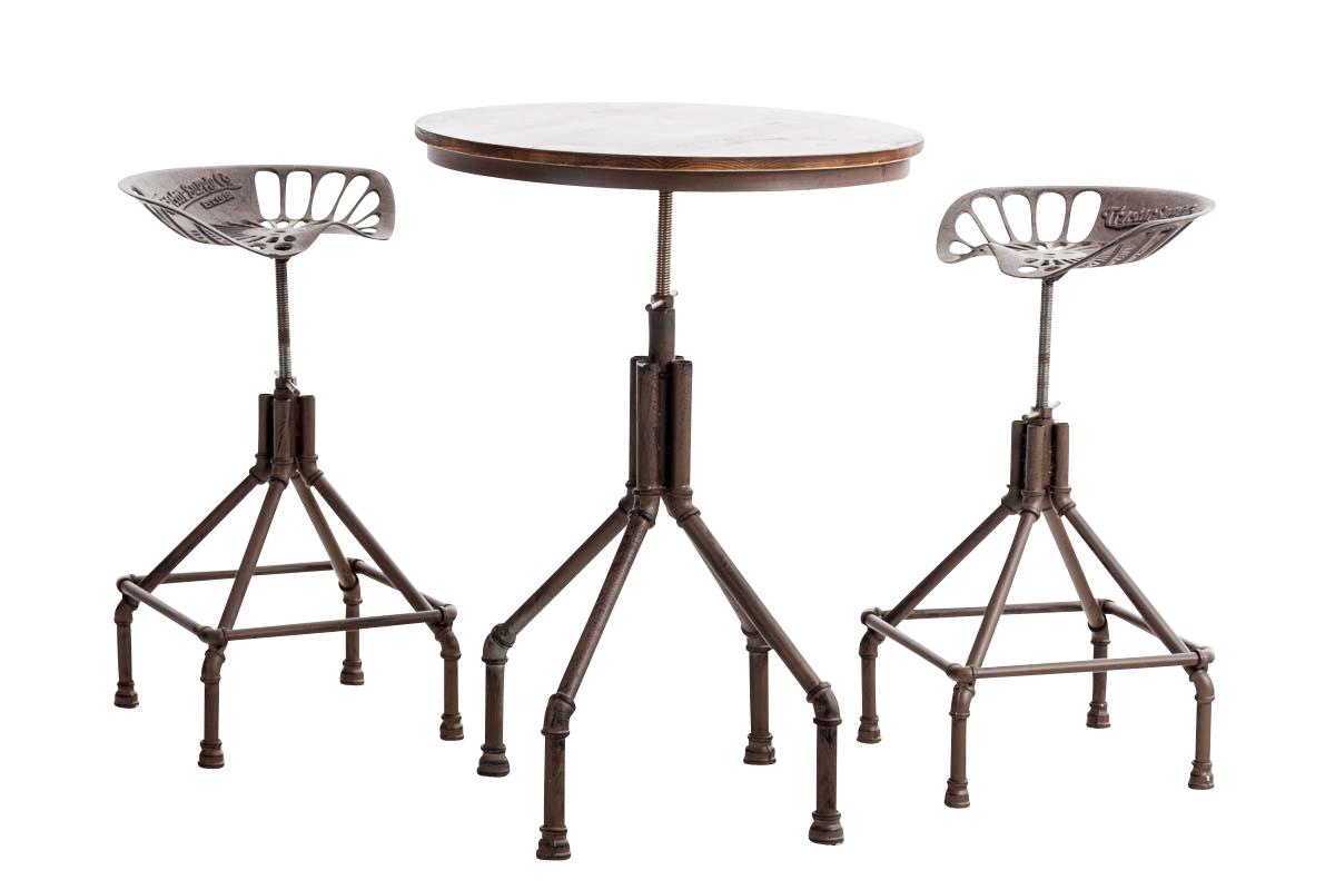 sitzgruppe pipe barhocker set 1x tisch rund 2x barhocker gusseisen sitzgarnitur ebay. Black Bedroom Furniture Sets. Home Design Ideas