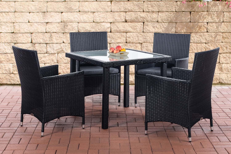 sitzgruppe rio 4 st hle polyrattan essgruppe gartenm bel gartengarnitur garnitur ebay. Black Bedroom Furniture Sets. Home Design Ideas