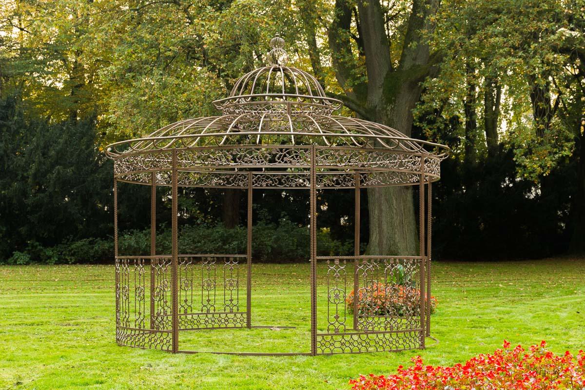 luxus pavillon romantik v2 rund 350 cm metall gazebo pavillion pergola rankhilfe ebay. Black Bedroom Furniture Sets. Home Design Ideas