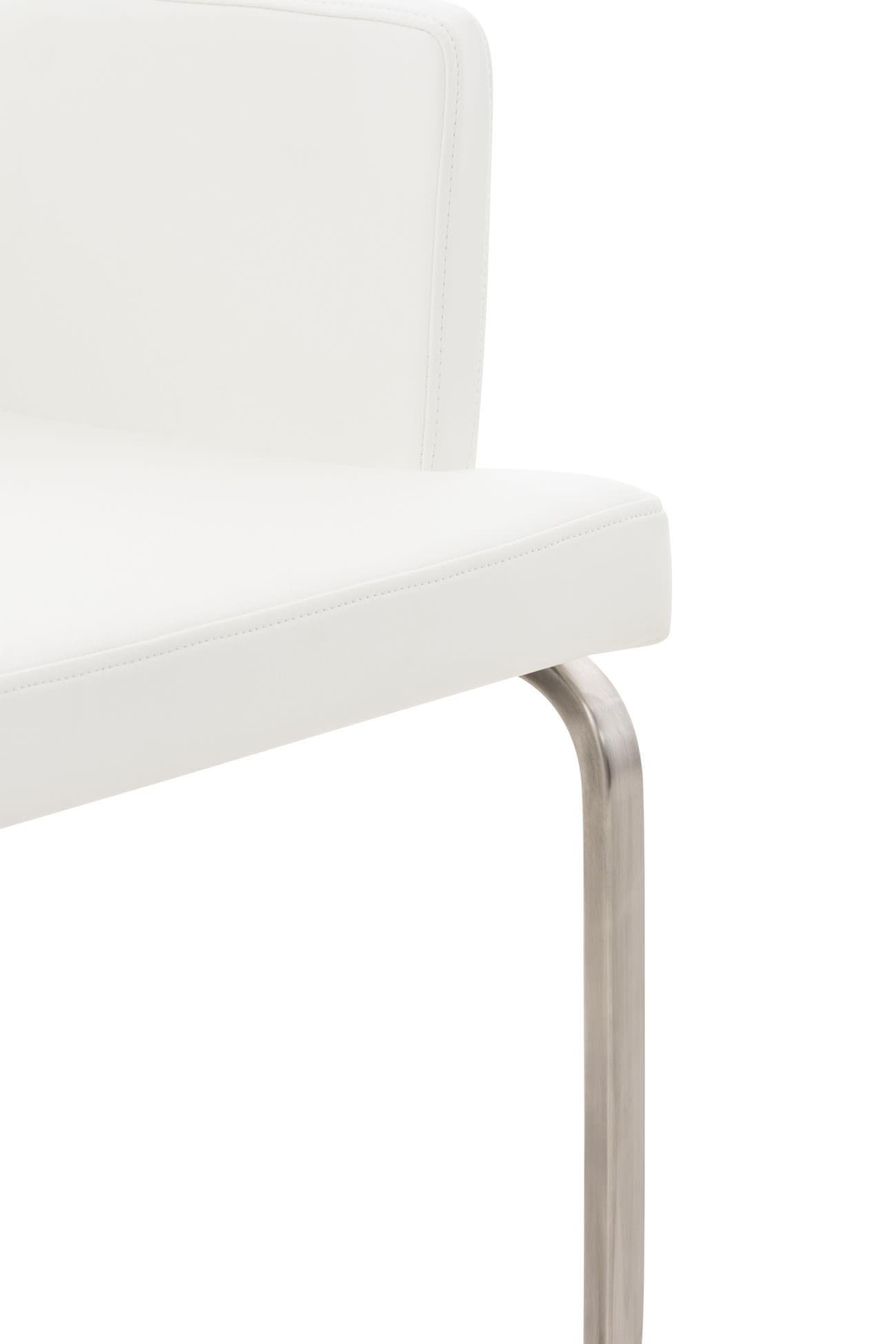 R6606 B 1301 2x Stuhl Aberford Kunstleder Edelstahl Weiß