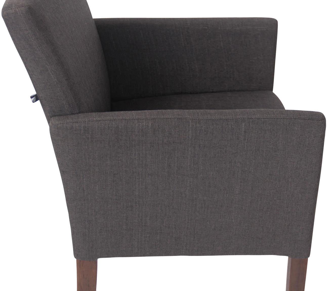 Dettagli su Poltroncina design salotto Warren tessuto e legno con braccioli sedia soggiorno